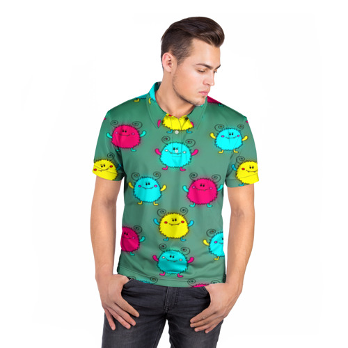 Мужская рубашка поло 3D  Фото 05, Монстрики