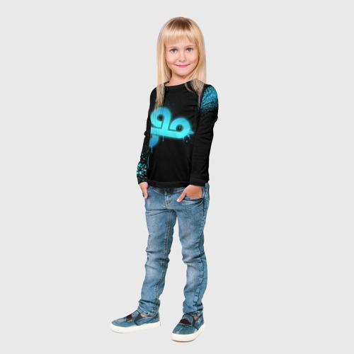 Детский лонгслив 3D  Фото 04, cs:go - Cloud 9 (Black collection)