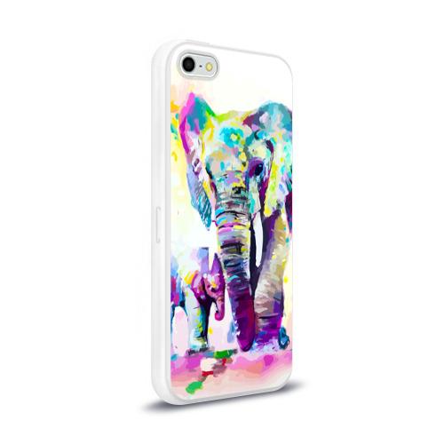 Чехол для Apple iPhone 5/5S силиконовый глянцевый  Фото 02, Слоны