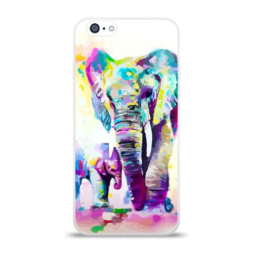Чехол для Apple iPhone 6 силиконовый глянцевый Слоны