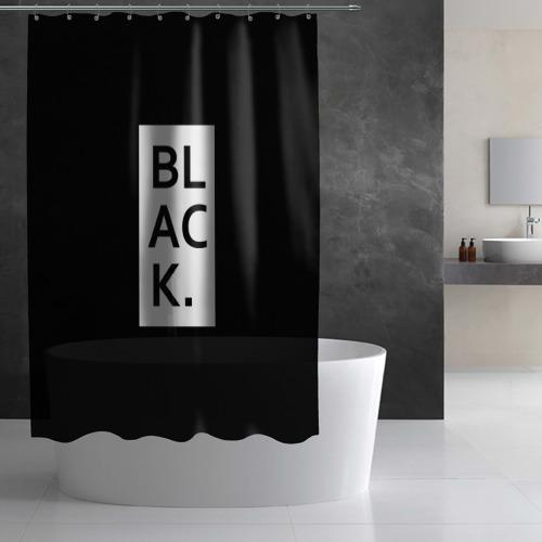 Штора 3D для ванной black Фото 01