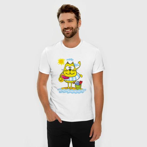 Мужская футболка премиум  Фото 03, Кот на пляже