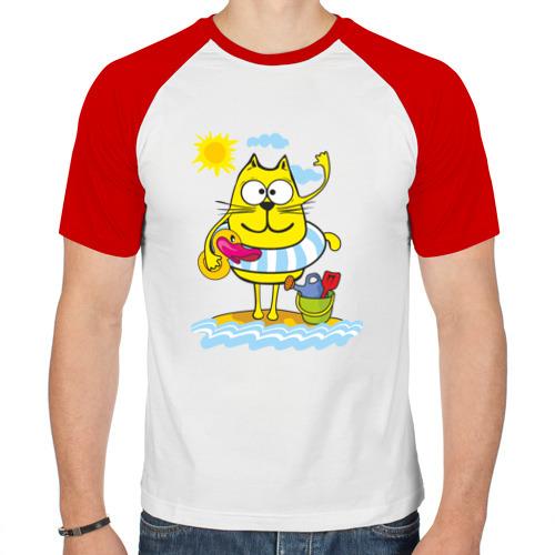 Мужская футболка реглан  Фото 01, Кот на пляже