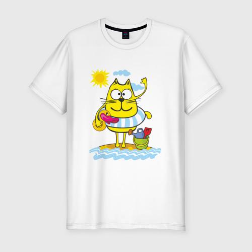 Мужская футболка премиум  Фото 01, Кот на пляже