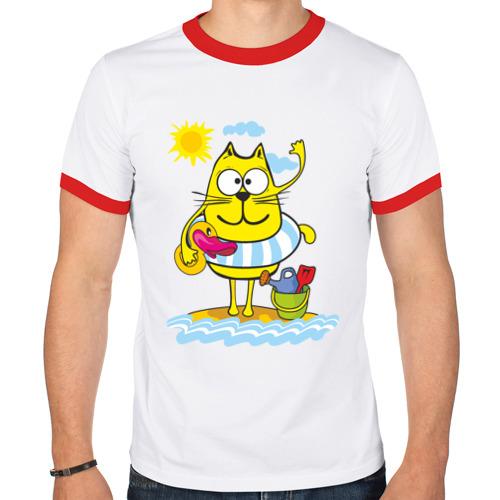 Мужская футболка рингер  Фото 01, Кот на пляже