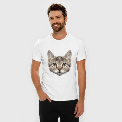 Мужская футболка премиум  Фото 03, Низкополигональный кот
