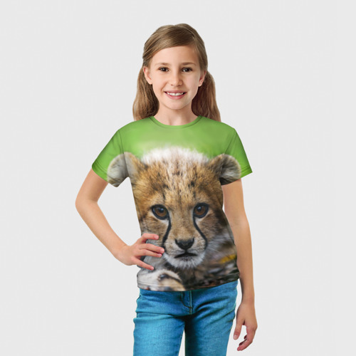 Детская футболка 3D Котёнок гепарда Фото 01