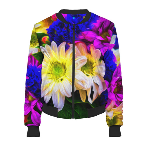 Женский бомбер 3D Райские цветы