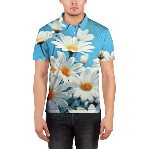 Мужская рубашка поло 3D  Фото 03, Ромашки