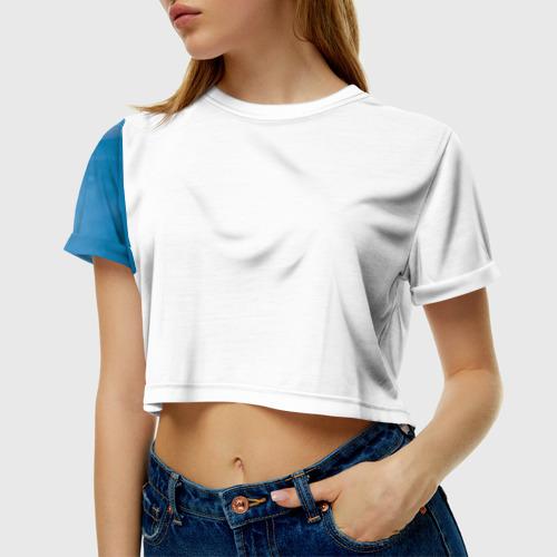 Женская футболка 3D укороченная  Фото 01, Blue