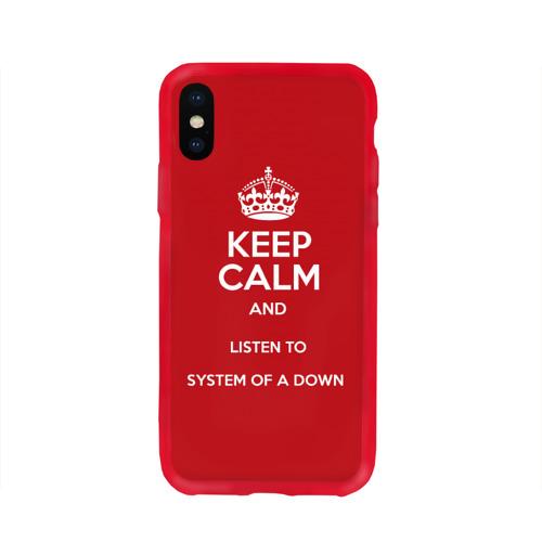 Чехол для Apple iPhone X силиконовый глянцевый Keep Calm SOAD Фото 01