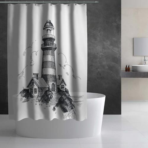 Штора 3D для ванной  Фото 03, Маяк