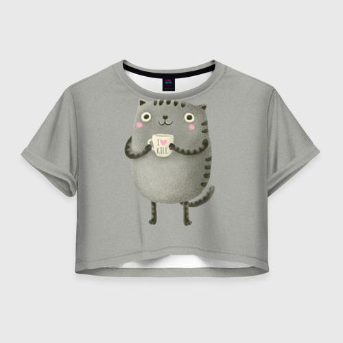 Женская футболка Cropp-top Cat Love Kill