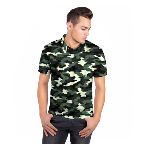 Мужская рубашка поло 3D  Фото 05, Пиксельный камуфляж