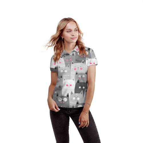 Женская рубашка поло 3D  Фото 03, Котейки 2