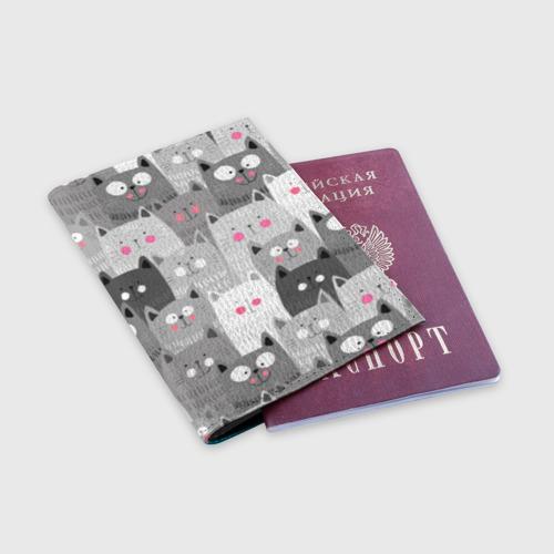 Обложка для паспорта матовая кожа Котейки 2 Фото 01