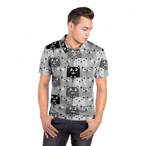 Мужская рубашка поло 3D Котейки Фото 01