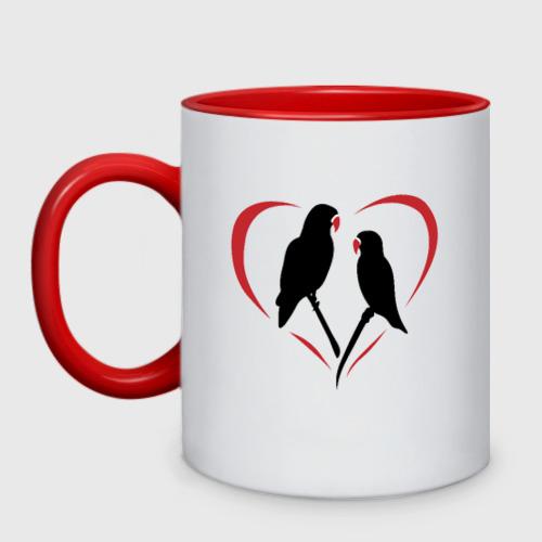 Кружка двухцветная Попугайчики