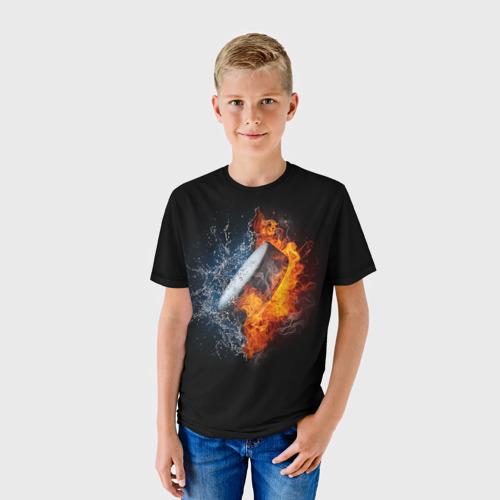 Детская футболка 3D Шайба - огонь и вода