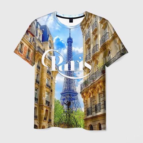 Мужская футболка 3D  Фото 01, Париж, Эйфелева башня