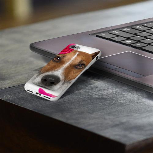 Чехол для Apple iPhone 8 силиконовый глянцевый  Фото 03, Джек рассел с розой