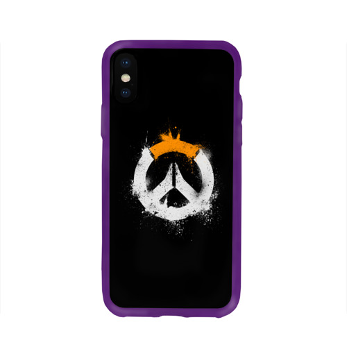 Чехол для Apple iPhone X силиконовый глянцевый  Фото 01, Overwatch Logo (Краска)