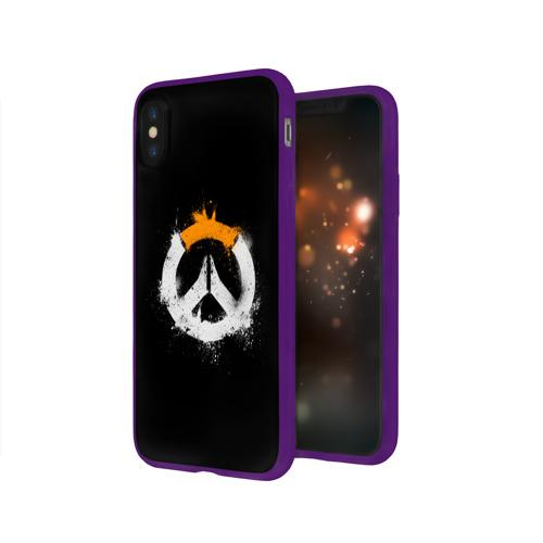 Чехол для Apple iPhone X силиконовый глянцевый  Фото 03, Overwatch Logo (Краска)