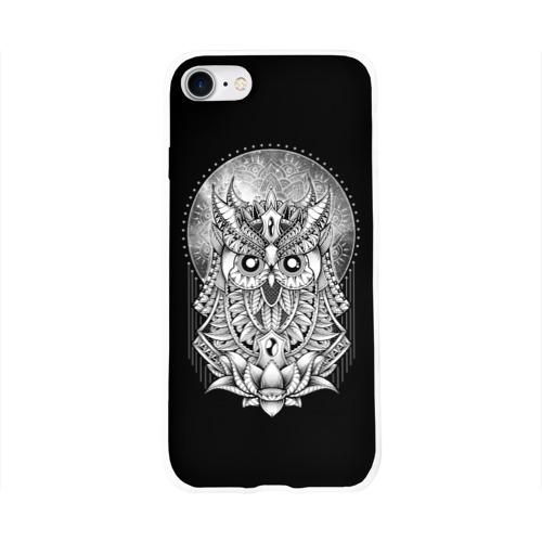 Чехол для Apple iPhone 8 силиконовый глянцевый  Фото 01, Королевская сова