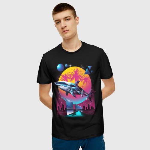 Мужская футболка 3D Ретро акула Фото 01