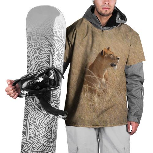 Накидка на куртку 3D Львица в траве