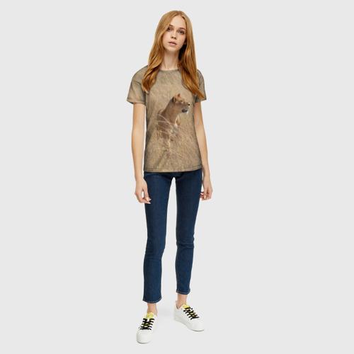 Женская футболка 3D Львица в траве Фото 01
