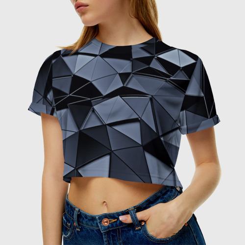 Женская футболка 3D укороченная  Фото 01, Abstract Gray