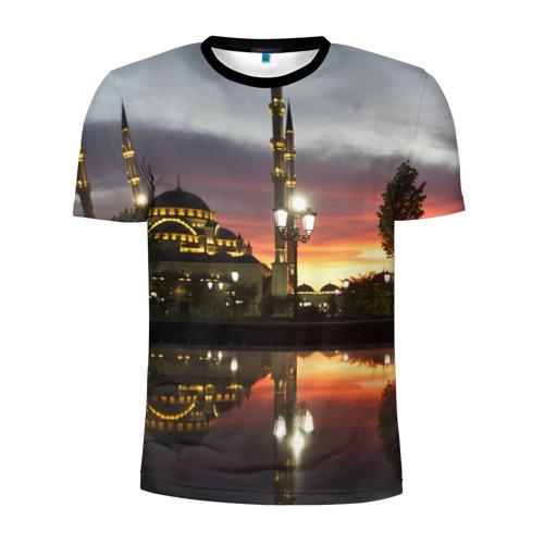 Мужская футболка 3D спортивная Мечеть в Грозном