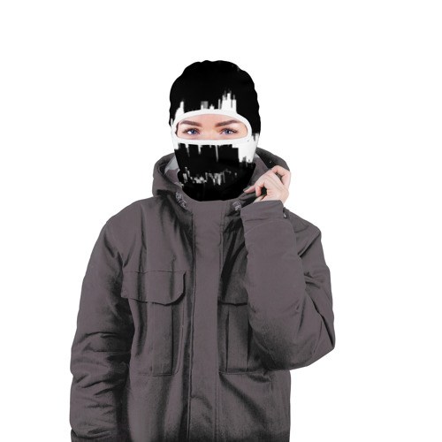 Балаклава 3D  Фото 04, Черно-белый штрих