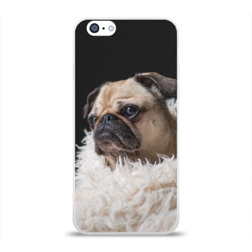 Чехол для Apple iPhone 6 силиконовый глянцевый Мопс