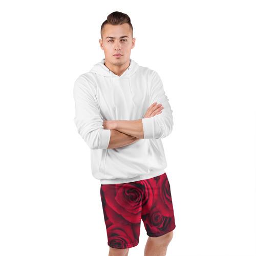 Мужские шорты 3D спортивные  Фото 05, Красные розы