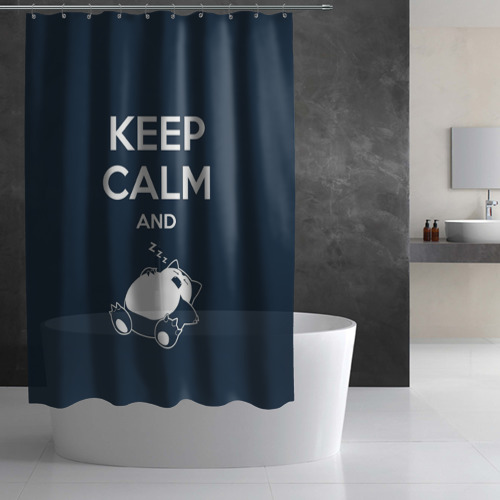 Штора 3D для ванной  Фото 02, Keep calm and zzz