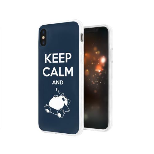 Чехол для Apple iPhone X силиконовый глянцевый Keep calm and zzz Фото 01