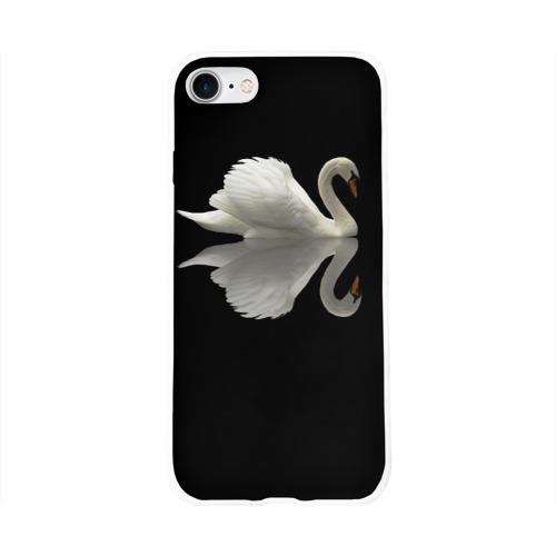 Чехол для Apple iPhone 8 силиконовый глянцевый  Фото 01, Белый лебедь