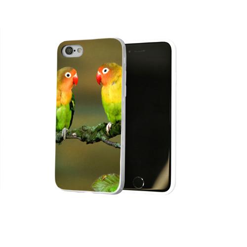 Чехол для Apple iPhone 8 силиконовый глянцевый  Фото 02, Попугаи