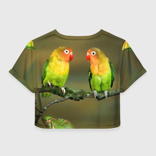 Женская футболка 3D укороченная  Фото 02, Попугаи