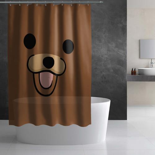 Штора 3D для ванной  Фото 03, Медведь