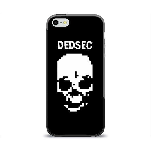 Чехол для Apple iPhone 5/5S силиконовый глянцевый  Фото 01, Череп Dedsec