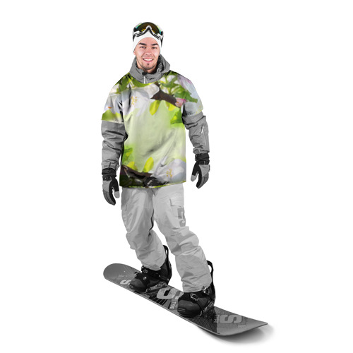 Накидка на куртку 3D  Фото 03, Цветы на зеленом