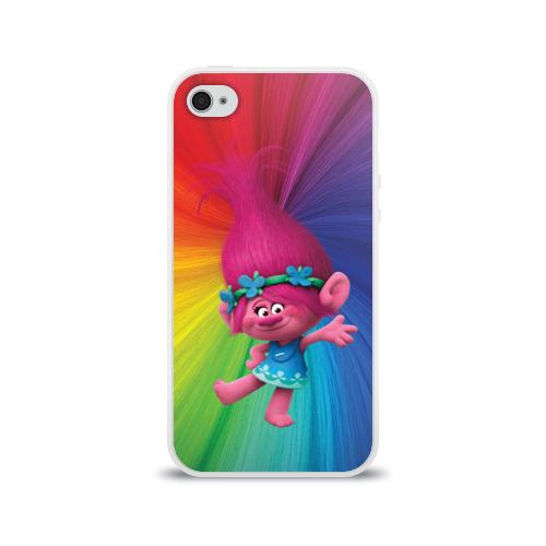 Чехол для Apple iPhone 4/4S силиконовый глянцевый Розочка тролли Фото 01