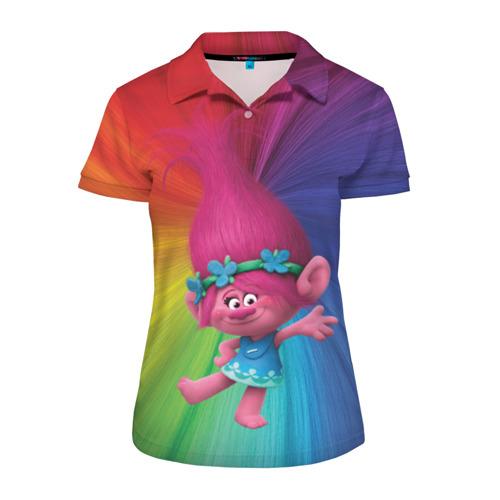 Женская рубашка поло 3D Розочка тролли Фото 01