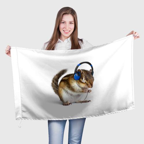 Флаг 3D  Фото 01, бурундук-меломан