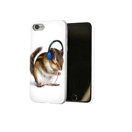 Чехол для Apple iPhone 8 силиконовый глянцевый  Фото 02, бурундук-меломан