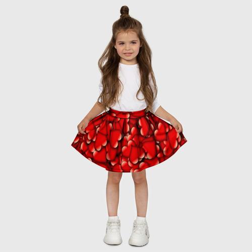 Детская юбка-солнце 3D Сердечки Фото 01