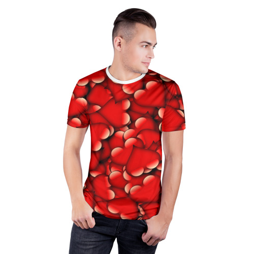 Мужская футболка 3D спортивная  Фото 03, Сердечки